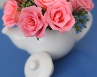 Mini teapot flower arrangement for baby shower,bridal shower and table decor