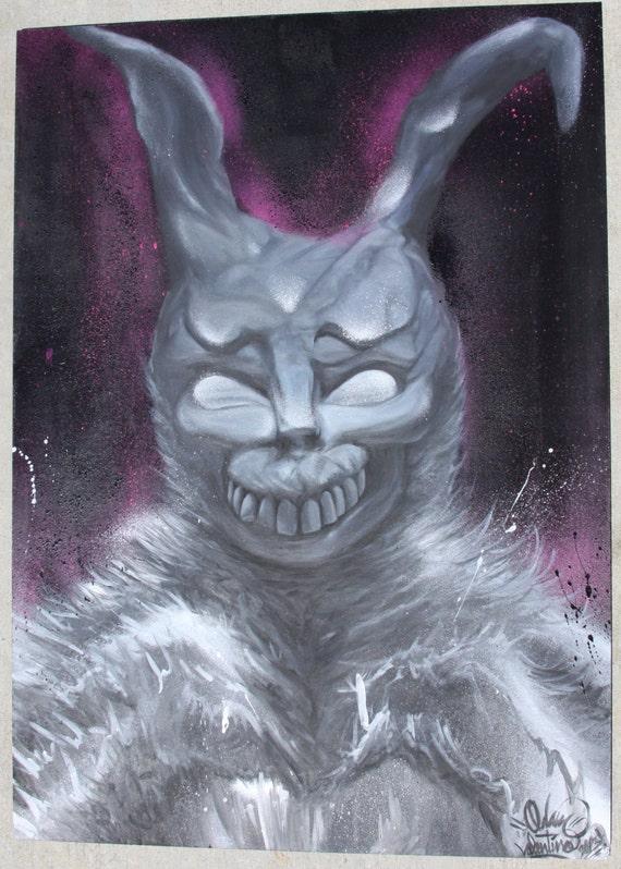 Donnie Darko Frank Character Original Acrylic & Aerosol Painting on MDF board