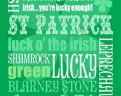 Printable St Patrick's Day Green Digital Subway Art Typography Decoration 11x14 and 8x10