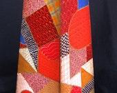 CRAZY QUILT OBELISK, An Original  Hand Painted Obelisk Lidded Box Painted In Crazy Quilt Shades of Red