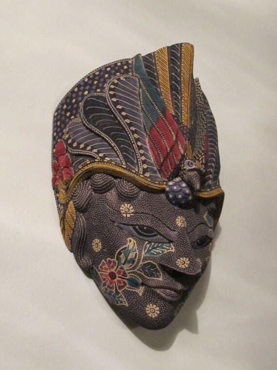Balinese Wooden Face Mask Indonesian Batik Aboriginal Design Bird