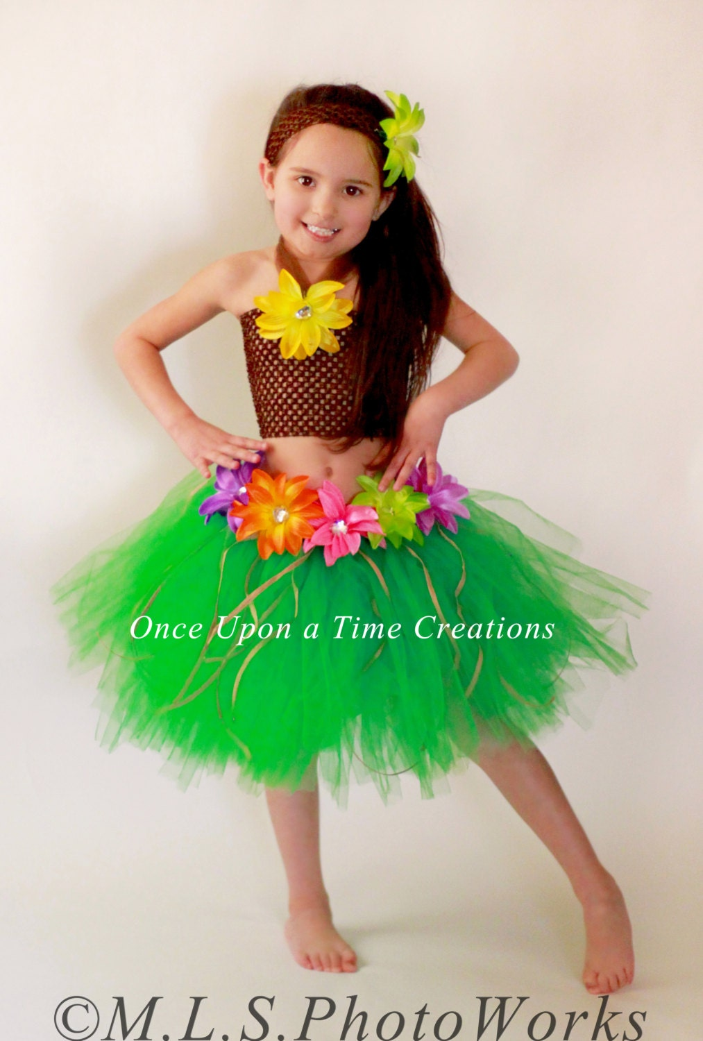 Luau Hawaiian Grass Hula Skirt Tutu Dress Set Girls
