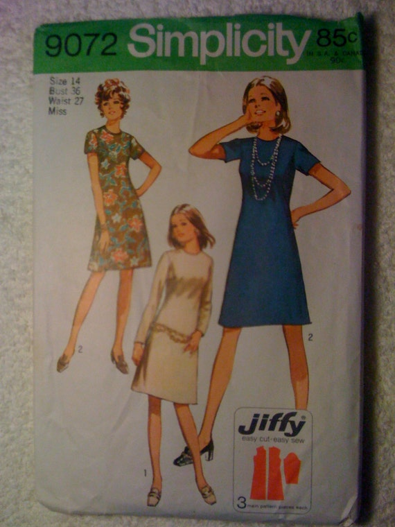 Simplicity 70s Sewing Pattern 9072 Miss Petite and Miss Jiffy Dress Size 14 Sale