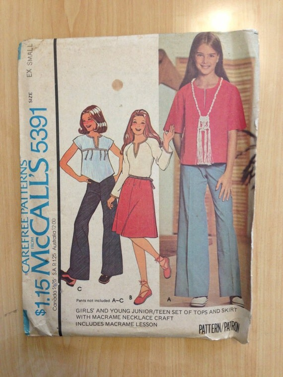 McCalls Sewing Pattern 5391 Girls and Young Juniors/Teens Set of Tops and Skirt Size XS Sale