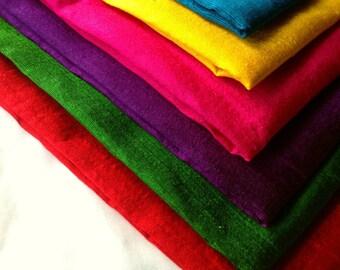 Raw Silk - Indian Dupioni Silk - Dupioni Silk Fat Quarters - Rainbow Pack - Seven Fat Quarters