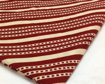 Diagonal Print Border Fabric - Cotton Fabric - Maroon and Cream Cotton - Block Print Cotton by Yard