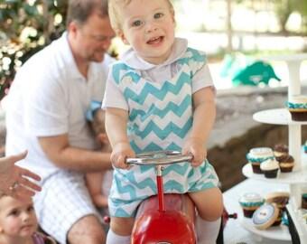 Romper, Classic Baby/Toddler  Chevron Romper in Riley Blakes Chevron  Cotton Fabric