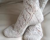 Ladies lace socks. Hand knit luxurious socks. Highest quality sock yarn. Boudoir socks. House socks. Bed socks. Sleeping socks.