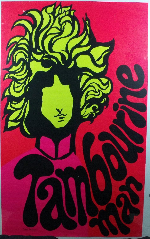 Vintage Blacklight Poster 1969 Bob Dylan Original Rare