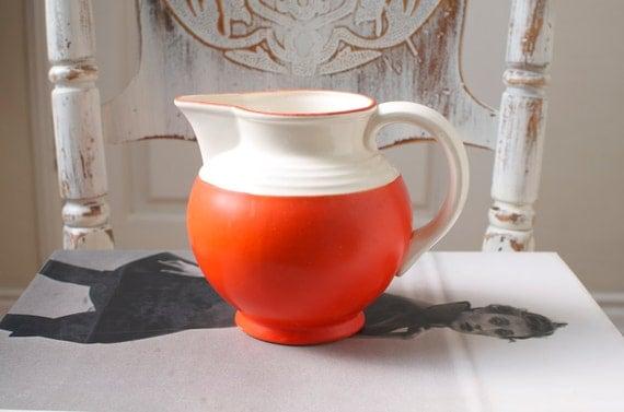 Vintage Red Ceramic Pitcher Japan - Mid Century