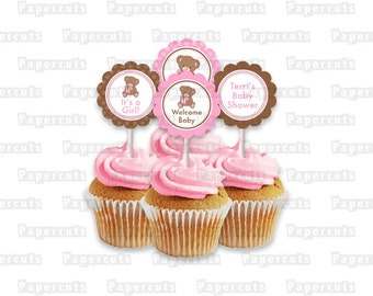 Printable DIY Pink and Brown Teddy Bear Theme Personalized Girl Baby Shower Cupcake Toppers