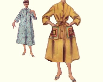 Duster Housedress Coat Negligee Lingerie Nightgown Bathrobe Dress Rockabilly Simplicity 1950s Sewing Pattern Retro Style Bust 30