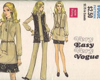 Vintage Vogue Sewing Pattern 70s Retro Mini Skirt High Neck Tie Front Blouse Shirt Vest Jacket Straight Leg Pants Bust 34