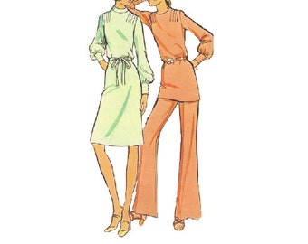 McCall's Sewing Pattern 70s Retro Dress Tunic Pants Long Sleeves High Neck Band Collar Tie Waist Bust 34 Uncut