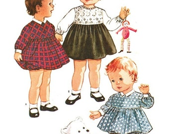 McCall's 7374 Photocopy of Vintage 60s Sweet Toddler Girl's Dress in Three Versions & Bloomers - A Helen Lee Design - Sewing Pattern Size 1
