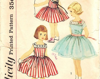 Simplicity 2518 Photocopy of Vintage 50s Toddler Girls Sleeveless Dress with V back Necline and Full Skirt Sewing Pattern Size 2