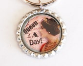 Queen for the Day, Key Ring, key chain, bottle cap, fun key chain, Queen 4 the Day, queen, humor (2171) - KellysMagnets