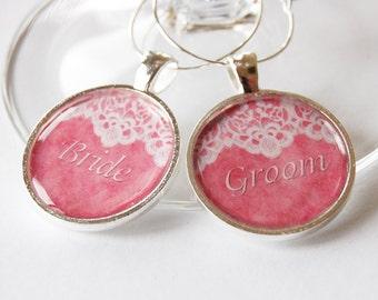 Bride Groom, Wedding Wine Charms, Wine Charms, barware, bride groom charms, wedding reception, pink, silver plate (2038)