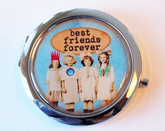 Best Friends compact mirror, mirror, purse mirror, BFF, compact mirror, double sided mirror, gift for friend (2075)