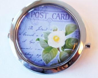 Flower compact mirror, mirror, pocket mirror, Mothers day gift, primrose, purple, compact mirror, floral mirror (2085)