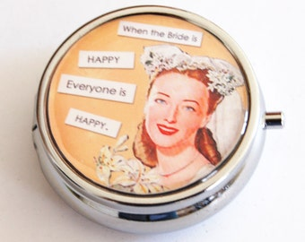 Bride Pill Case, Happy Bride, Gift for bride, wedding shower, bridal, bridal shower gifts, pill box, gift for bride, peach (2142)