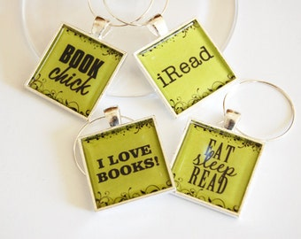 Book Club Wine Charms, Wine Glass Charms, book club, silver plate, barware, entertaining, table setting, green (2396)