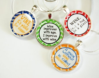 Funny wine charms, Wine Charms, Wine Glass Charms, humor, silver plate, barware, entertaining, table setting (2551)