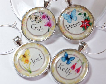 Personalized wine charms, custom, Wine Charms, Wine Glass Charms, Flowers, silver plate, Butterfly, personalized charms (2595)