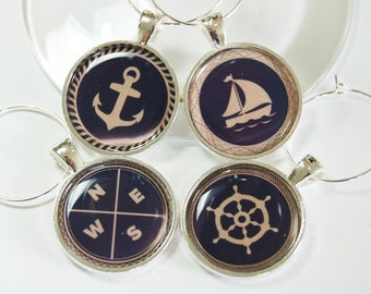 Sailing Wine Charms, Wine Glass Charms, Wine Charms, barware, Nautical Housewares, entertaining, table setting, Nautical, Navy, Tan (2634)