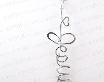 Heart Jesus Wire Wrapped Necklace - Written - Jesus - Wire Word - Jesus Jewelry - Jesus Pendant - Christian Jewelry