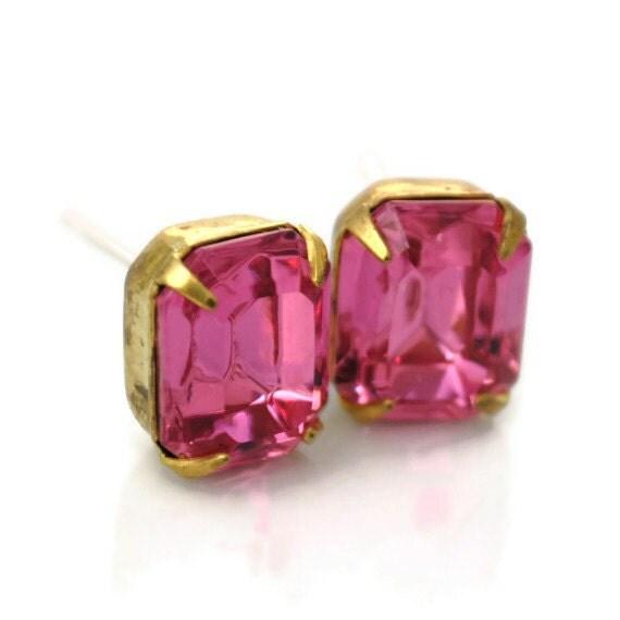 Watermelon Pink Glass Bridesmaid Vintage Jewel Post Earrings
