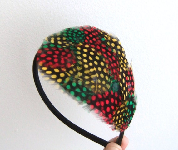 Rasta Feather Headband Black Green Yellow Red Fascinator Hair Accessories