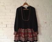 Vintage Bohemian Dress, Women L