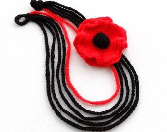 Crochet Necklace - Crochet Chain Necklace - Red Poppy Necklace