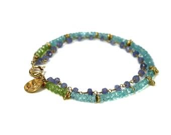 Amethyst, Apatite and Peridot Bracelet. Friendship Bracelet, Stacking Bracelet. Gemstone Birthstone Jewelry.