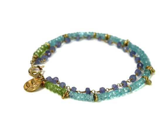 Amethyst, Apatite and Peridot Bracelet. Friendship Bracelet, Stacking Bracelet. Gemstone Birthstone Jewelry.