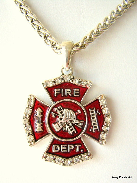 firefighter necklace bling gorgeous chain by