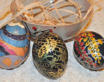 Washi Wrapped Egg Set of 3 -  Perfect for Easter, Christmas or Any Other Ocassion