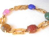 Semi Precious Stone Scarab Bracelet, Tigers Eye, Jade, Carnelian, Chalcedony, Gold Vintage Bracelet