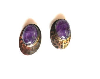 Modernist Earrings, Amethyst & Hammered Sterling Earrings, Vintage Dakota West Jewelry