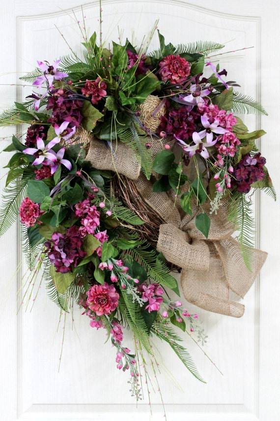 Items Similar To Elegant Summer Wreath Front Door Wreath
