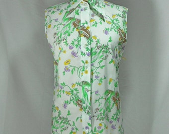 vintage 1970s sleeveless floral blouse / size 12