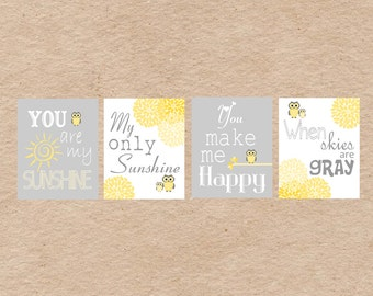 Owl Nursery Art DIY Printable- You Are My Sunshine Wall Art- Grey & Yellow