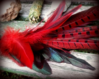 SUMMER SALE! Pheasant Smudge Fan-Pay with PayPal get a free spell in the box! Phoenix Red-Ceremonial- w/Naturally Dropped Feathers