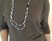 C5 blue paper bead necklace with black wooden beads