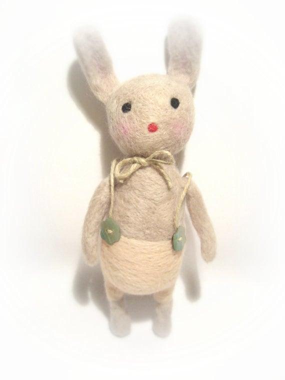 Eco friendly stuffed bunny rabbit  art toy made from 100% needle felted  wool ,plush bunny rabbit  animal toy-, Art Doll
