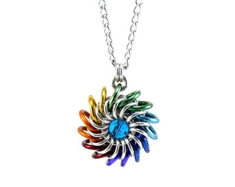 Rainbow Beaded Chainmail Necklace - Round Abstract Metal Crochet Pendant - Whirlybird