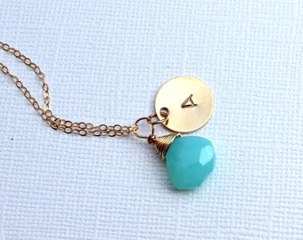 Initial Stamped, Letter, Custom Stamped, Peruvian Blue Opal Necklace. Gold Fill. Personalized Birthstone Circle of Love 14K Gold One disc