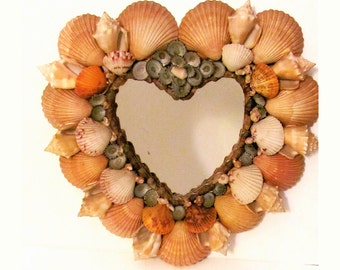 Victorian Seashell Mirror, Shell Heart Shaped Mirror, Handmade Mirror, Nautical Mirror, Sea Side Mirror, Ocean Decor, Beach Decor