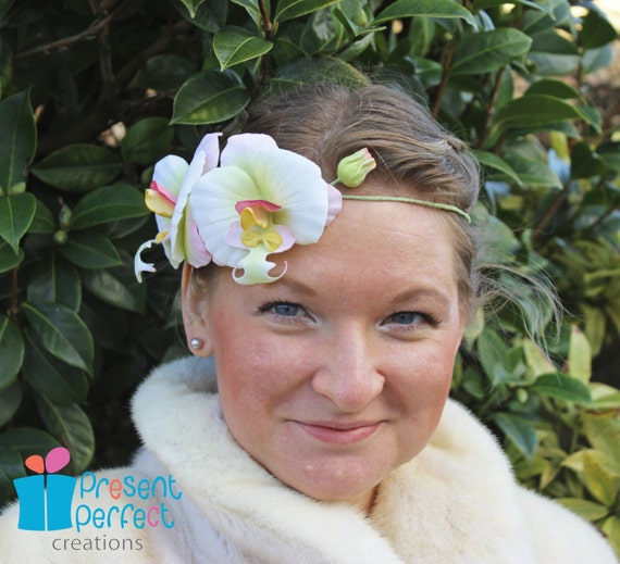 Orchid crown, orchid for hair, 1920s hair accessory, 1920 wedding, bridal circlet, velvet flower hairpiece, spring wedding UK shop